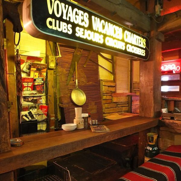 Up on the second floor of the building opened the door of heavy wood and found a ... vibrant Old American Bar!