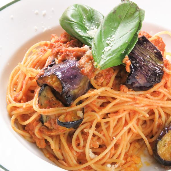 Tuna and eggplant's tomato spaghetti