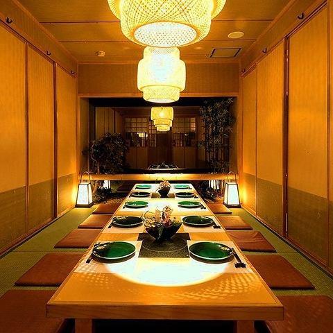 【個室2名~】落ち着いた雰囲気のある店内は、少人数~団体様まで皆さま個室でご案内いたします。ご宴会は、飲み放題付でお値段に応じてご用意しております。浜松 和食 宴会 歓迎会 送別会 誕生日 女子会 鍋 海鮮 合コン 個室 完全個室 飲み放題 居酒屋】