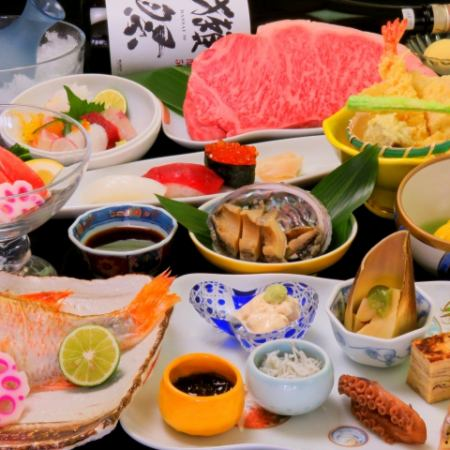 【Kiwami party】 【Festival too OK! Premium drinking attached】 All 11 items 10000 yen <Awa beef / steaked abalone etc>