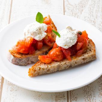 トマトのブルスケッタ~自家製リコッタチーズのせ~