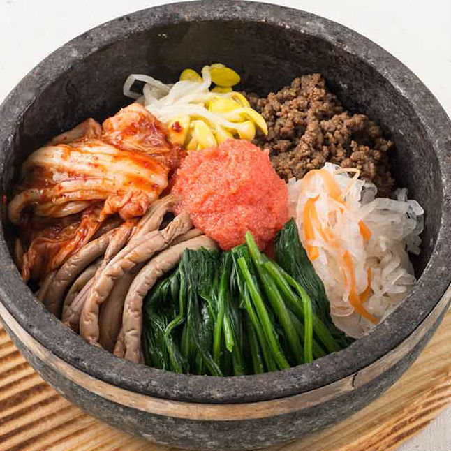 Mentaiko stone-roasted bibimbap / cheese stone-roasted bibimbap