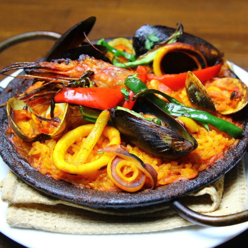 Plenty of seafood paella
