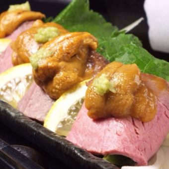 Raw sea urchin and roast beef wasabi soy sauce