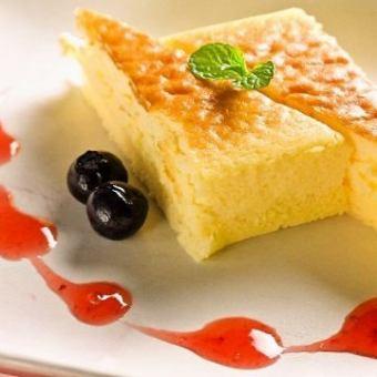 Served souffle cheesecake vanilla ice