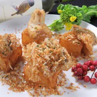 Deep-fried crispy bread flour seat of tilefish and radish