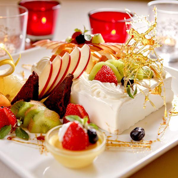 [週年生日♪]將可在當日OK!梅田原來甜點盤★