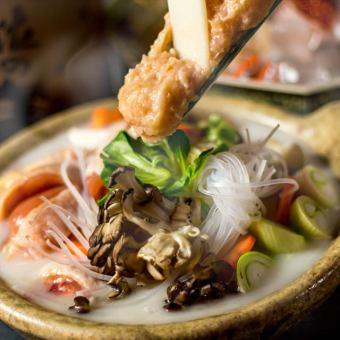 豪華阿波尾鶏の白湯鍋