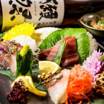 新鲜的鱼生鱼片三点什锦