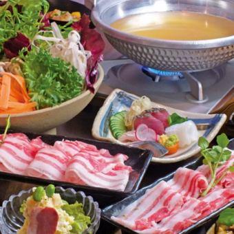 "7 items with 2H [drinking] ""Shabu-shabu course"" \ 3900 (tax included)"
