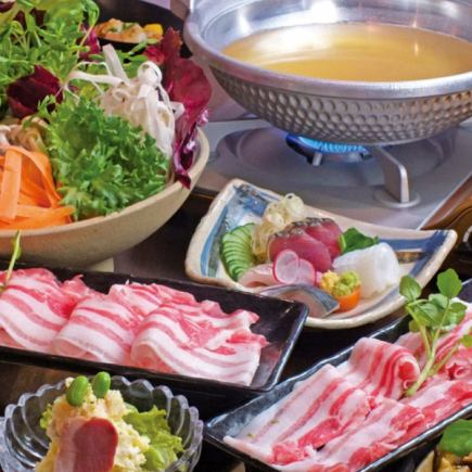 "7 items with 2H [drinking] ""Shabu-shabu course"" \ 3900 (tax included)"