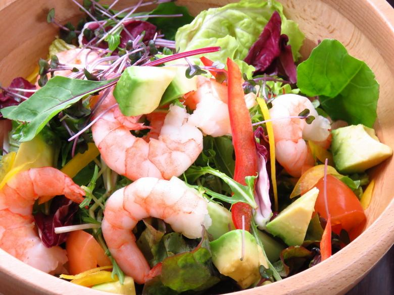 Colorful salad with avocado with prawn shrimp