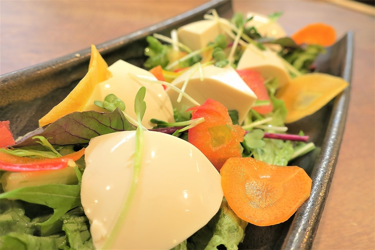Sticky tofu gomadori salad