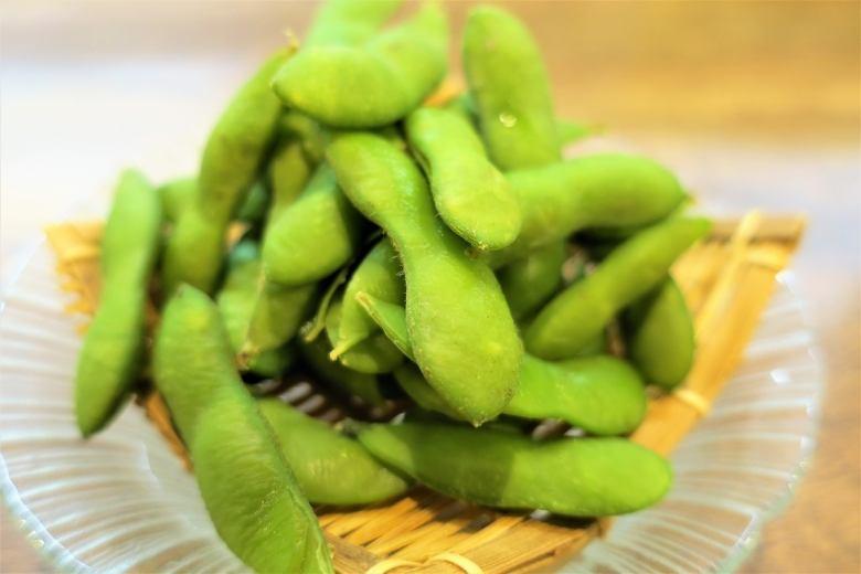 枝豆(茶豆)・もずく酢・イカの塩辛・松前漬け