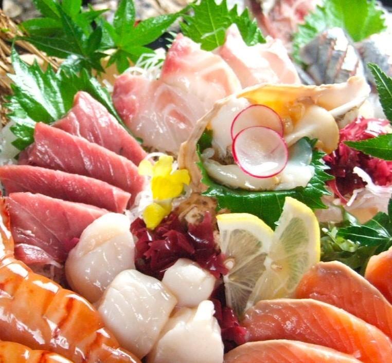 Assortment of 7 raw fish sashimi