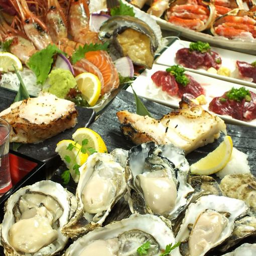 ★ 【3 Beech shells best breakfast horses, oysters, gorgeous sashimi 12 points】 【Including local sake 120 minutes drinking】 with ◆ ◆ 7000 yen → 6000 yen ◆