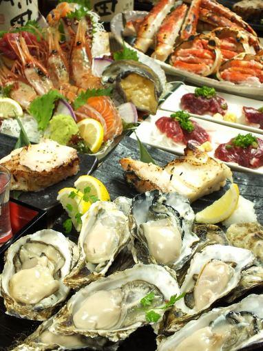★【3榉贝壳最好的早餐马,牡蛎,华丽的生鱼片12分【包括地方酒120分钟饮用】◆◆7000日元→6000日元◆