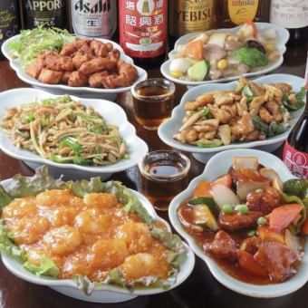 【1 most popular】 satisfied course all 6 items Ebi chilli · Fried chicken · Hachiba greens etc 2 H with unlimited drinks 4500 yen → 4000 yen (tax included)