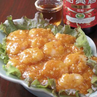 Stir-fried shrimp with chilli sauce