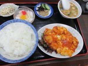 海老・卵のチリソース定食800円(税込)