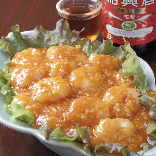 炒虾仁辣椒酱※平衡精致的辣椒酱是优秀的。您可以享受预铸的纹理。1450日元(含税)