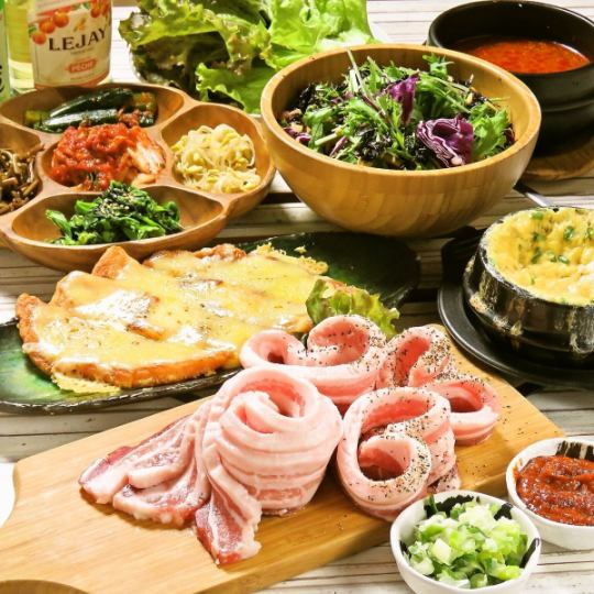 【Samgyeopsal girls with drink all-you-can-drink course】 ⇒ 2980 yen 10 dishes in all 180 minutes with unlimited drinks ★