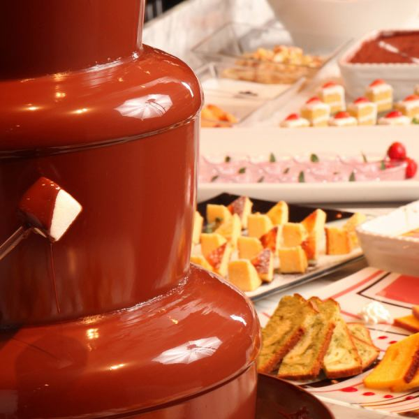 A rich sweets buffet including chocolate fountain