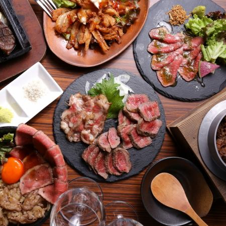 Roast beef of Kuroge Wagyu beef, bowl at noon and assorted night at night.Recommended for bars and girls' associations!