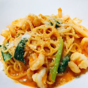 Shrimp and lotus root tomato sauce pasta + buffet set