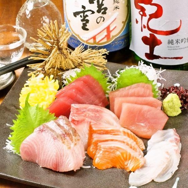 和歌山県那智勝浦町直送『野生鮪』と、選抜鮮魚の刺身盛り合わせ(6点盛り)