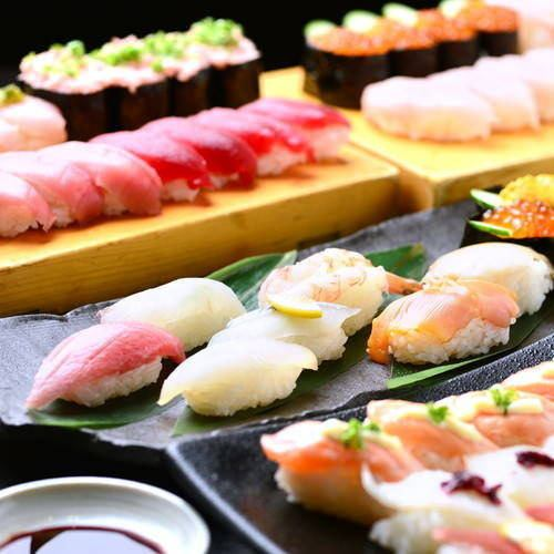 【Famous sushi specialties】 Sushi BAR 90 minutes drinking & 40 kinds of sushi All you can eat and all you can eat 368 yen (excluding tax)
