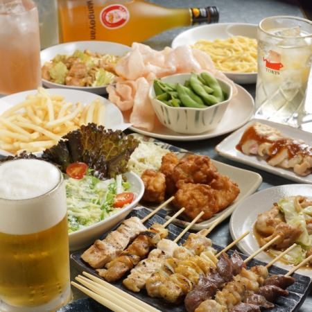 【All-you-can-drink for 2 hours】 Yakitori all you can eat and all-you-can-eat course 2990 yen ♪ + change 500 yen to 3 hours OK ♪