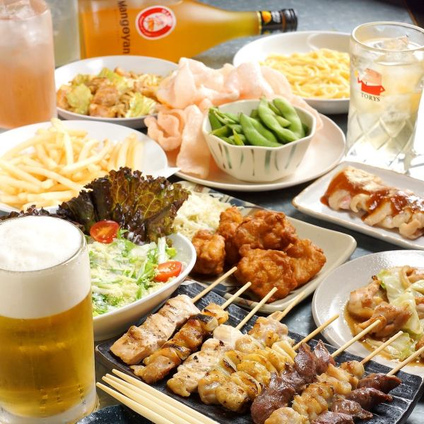 All-you-can-eat yakitori as much as you can and 3 hours with unlimited drinks course 2990 yen