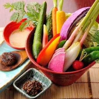有機野菜盛り合せサラダ ~3種のディップにて~