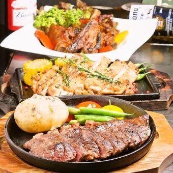 【限时!肉类展览会】牛肉,猪肉,鸟类特别烧烤套餐2.5小时所有你可以喝7种菜肴4500日元⇒3500日元