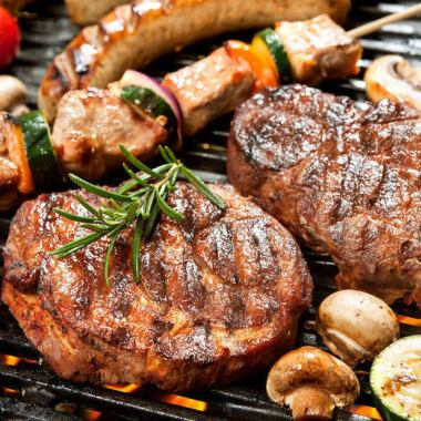 【夏限定!!肉フェア】 牛・豚・鳥のBBQコース 2.5時間飲み放題&料理5品4000円⇒3000円