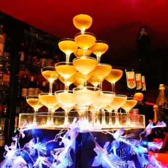 【Private Limited】 <With luxurious LED Champagne Tower> 3 hours All-you-can-drink & 8 dishes ⇒ 3500 yen