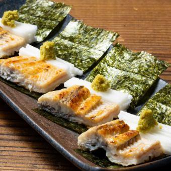 鰻の白醤油焼き山芋磯辺巻き