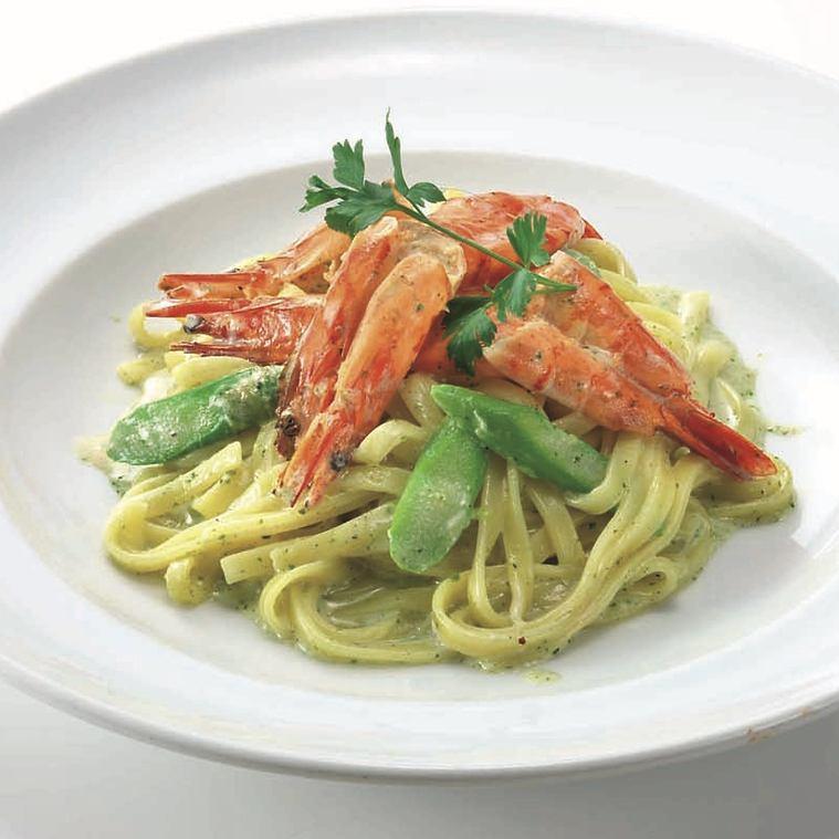 意大利細麵條蝦奶油醬羅勒風味