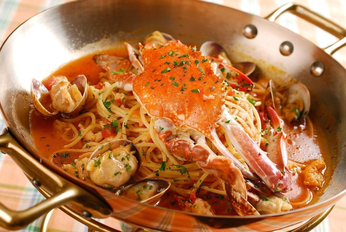 Walking crab soup tasting pasta course