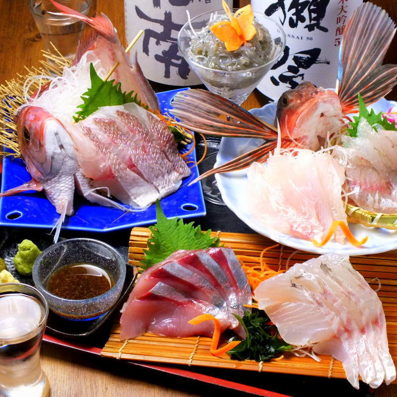 Seasonal ground fish sashimi with big fish