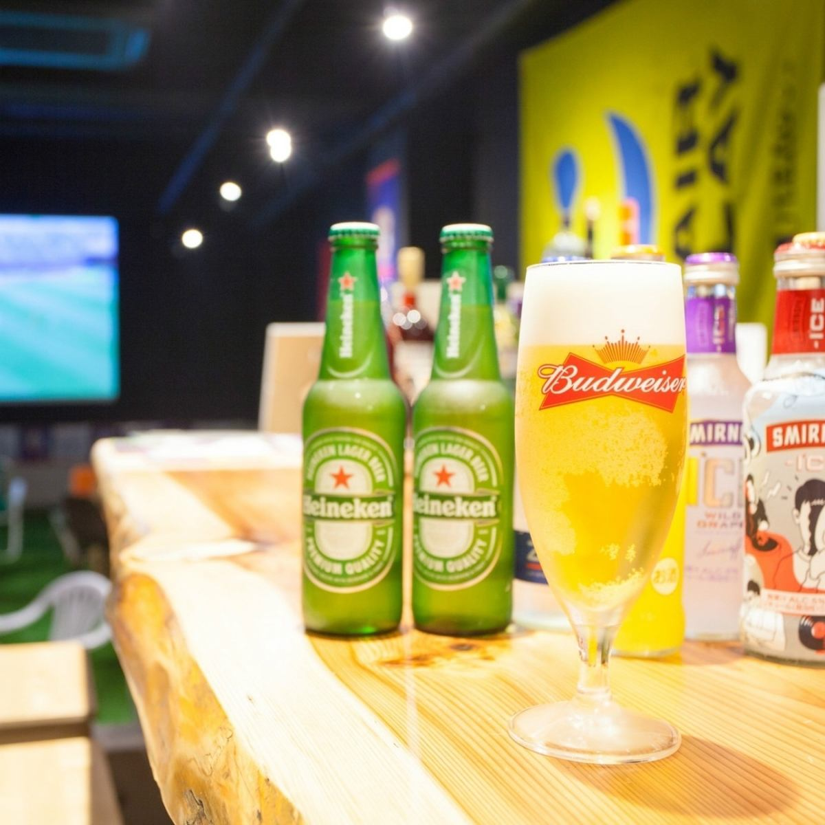 Popular Budweiser appears as an all-you-can-drink course ☆