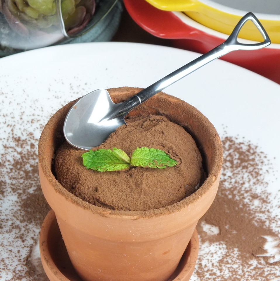 Homemade tiramisu of flowerpot