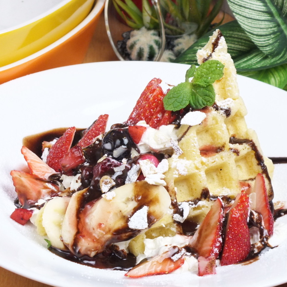 【Raw waffle】 Chocolate banana / caramel banana / cream cheese & berry / black honey kinon powder