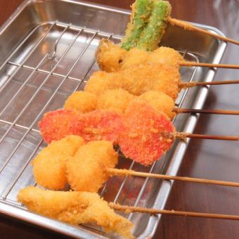 【Kushikatsu】 Pork cutlet / lotus root / Shishogan / red ginger / silver salmon / baked goods / quail