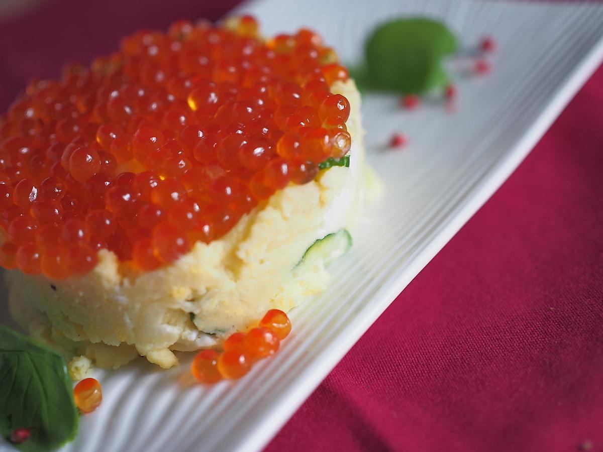 Potassala Ikra Shima / Mentaiko potato salad / Seafood salad / Steamed chicken Caesar salad raw ham and radish salad