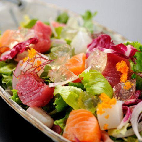 Marbled beef carpaccio / salmon and cream cheese raw spring roll / raw ham Caesar salad