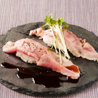 구운 고기 초밥 양고기 두 개분
