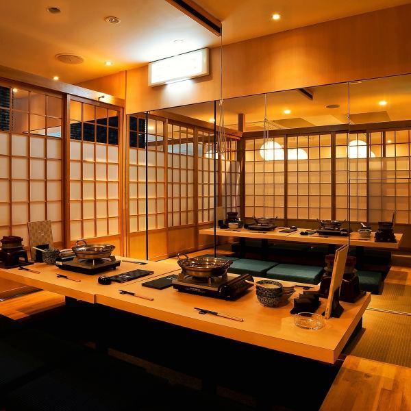 불안의 파 끊는 공간 ♪ 둥근 조명이 엑센트가 일본식 분위기의 점내.일본 현대적인 성인 공간에서 당점 자랑의 샤브샤브를 즐기세요!