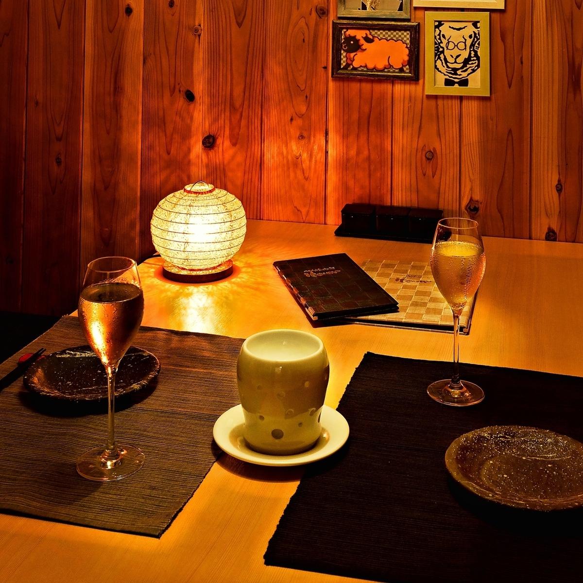 私人房間2人作為情侶座位◎以及健康的美食,一個令人難忘的花式甜點盤···
